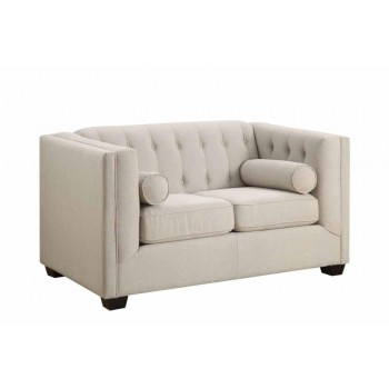 CAIRNS COLLECTION - Cairns Transitional Oatmeal Tufted Back Loveseat