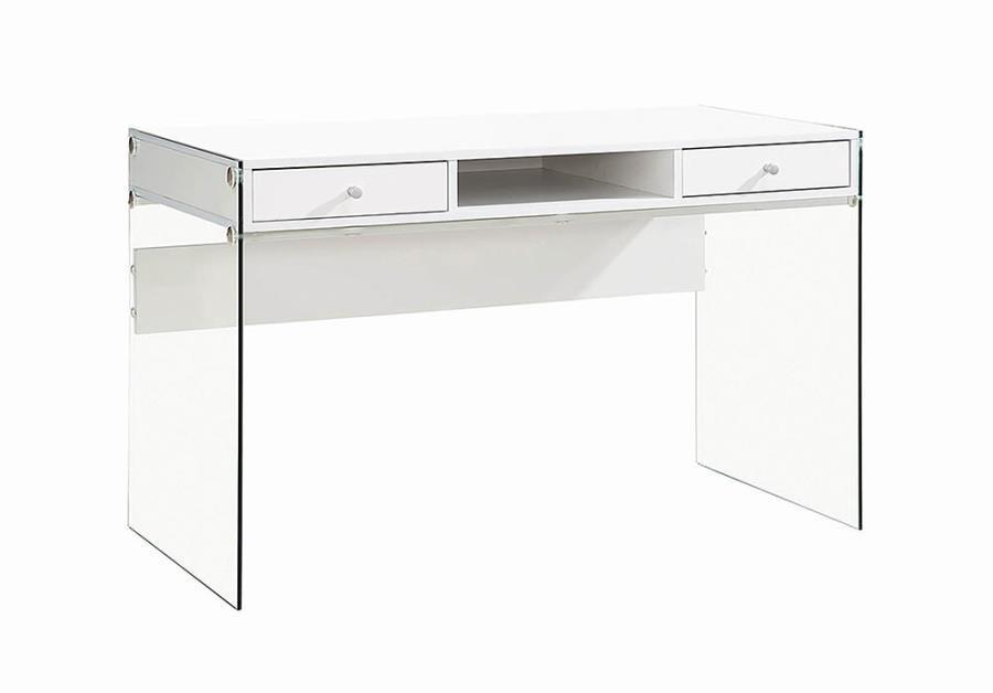 HOME OFFICE : DESKS - Contemporary Glossy White Writing Desk