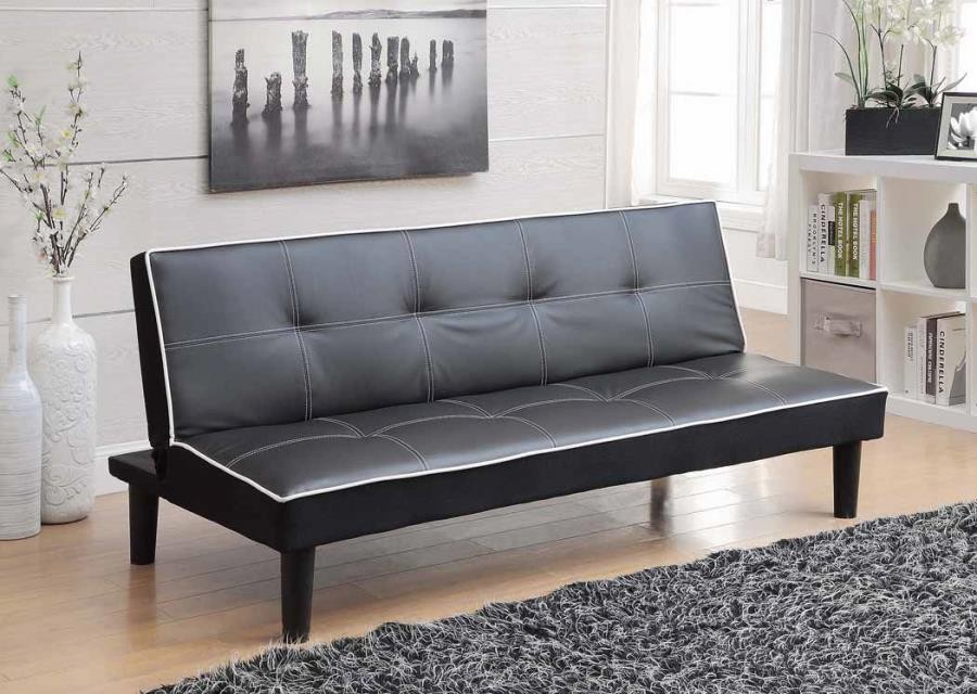 LIVING ROOM : SOFA BEDS - Contemporary Black Faux Leather Sofa Bed