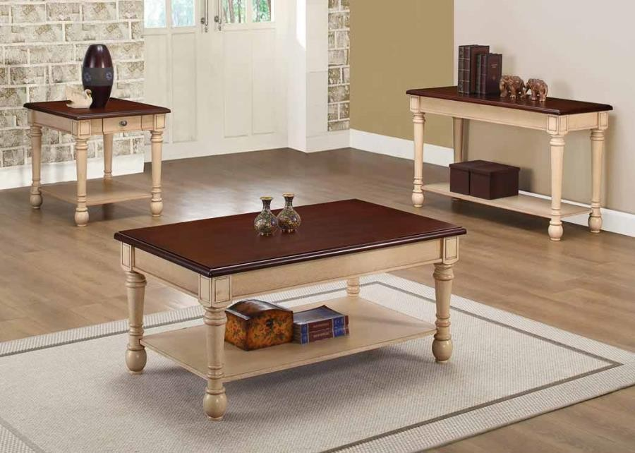 LIVING ROOM : TRADITIONAL OCCASIONAL TABLES - Transitional Dark  Brown/Antique White Coffee Table