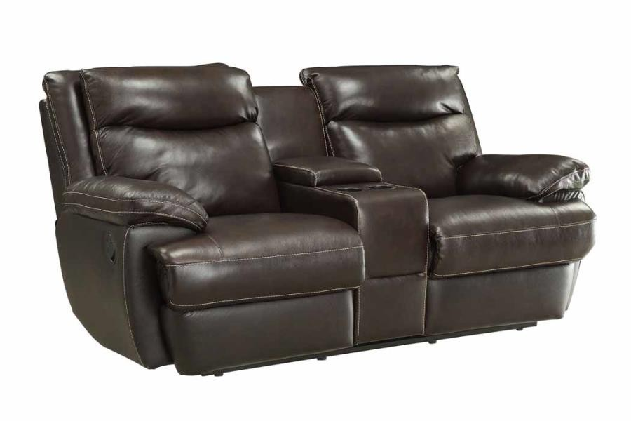 MACPHERSON MOTION COLLECTION - MacPherson Brown Leather Reclining Loveseat