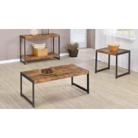 LIVING ROOM: WOOD TOP OCCASIONAL TABLES - Rustic Antique Nutmeg Coffee Table