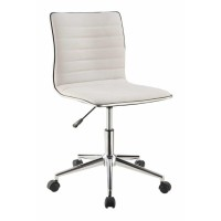 HOME OFFICE : CHAIRS - Modern White and Chrome Home Office Chair