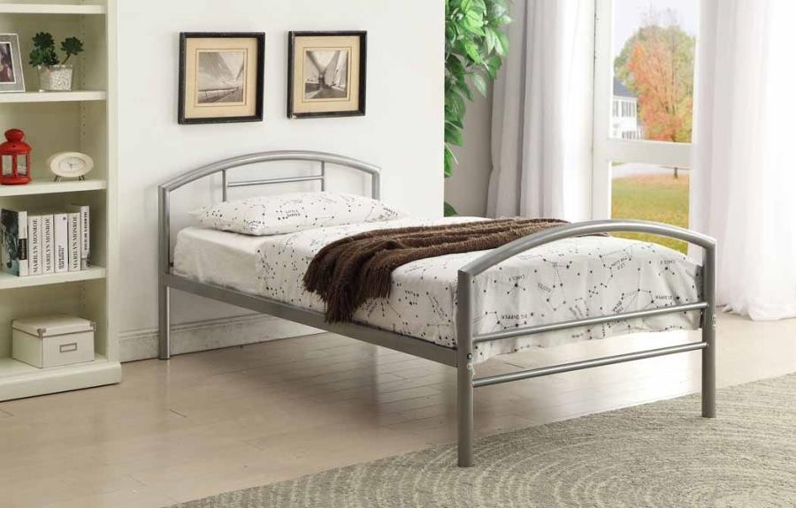 BAINES METAL BEDS - Baines Casual Silver Twin Bed