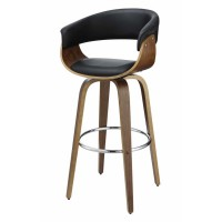 BAR STOOLS: WOOD SWIVEL - Contemporary Walnut and Black Bar Stool