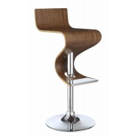 BAR STOOLS: HEIGHT ADJUSTABLE - Contemporary Walnut Adjustable Bar Stool
