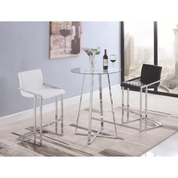 REC ROOM/ BAR TABLES: CHROME/GLASS - Contemporary Chrome and Glass Bar Table