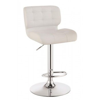REC ROOM/BAR STOOLS: HEIGHT ADJUSTABLE - Contemporary White Upholstered Bar Stool  (Pack of 2)