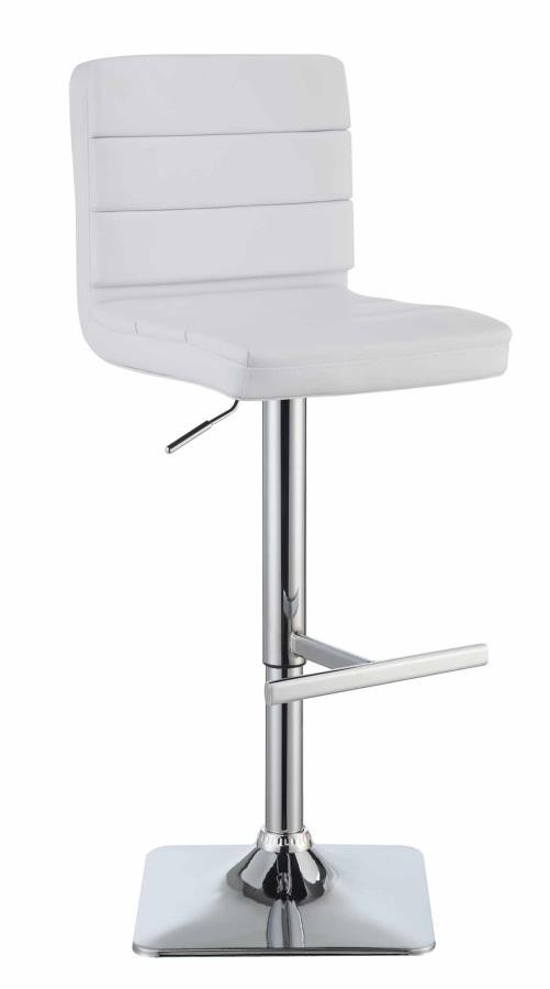 REC ROOM/BAR STOOLS: HEIGHT ADJUSTABLE - Contemporary Adjustable White Bar Stool with Chrome Finish (Pack of 2)