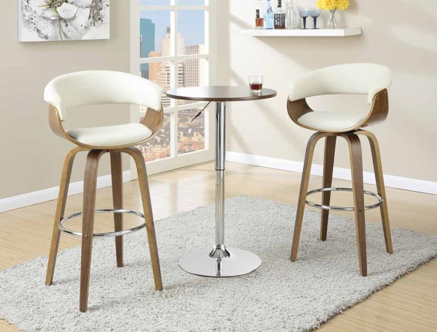 BAR STOOLS: WOOD SWIVEL - Contemporary Walnut and Cream Bar Stool