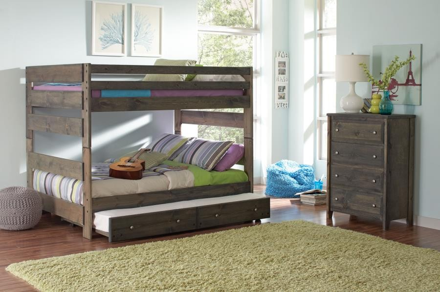 WRANGLE HILL COLLECTION - Wrangle Hill Gun Smoke Full/Full Bunk Bed