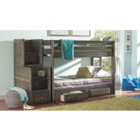 WRANGLE HILL COLLECTION - Wrangle Hill Gun Smoke Twin/Twin Bunk Bed