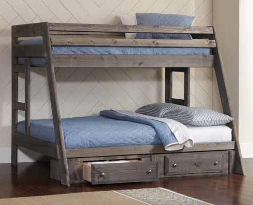 WRANGLE HILL COLLECTION - Wrangle Hill Twin-over-Full Bunk Bed