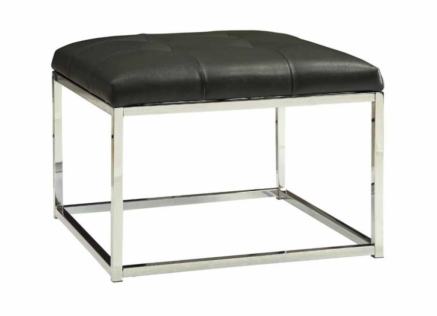 ACCENTS : OTTOMANS - Contemporary Charcoal and Chrome Ottoman