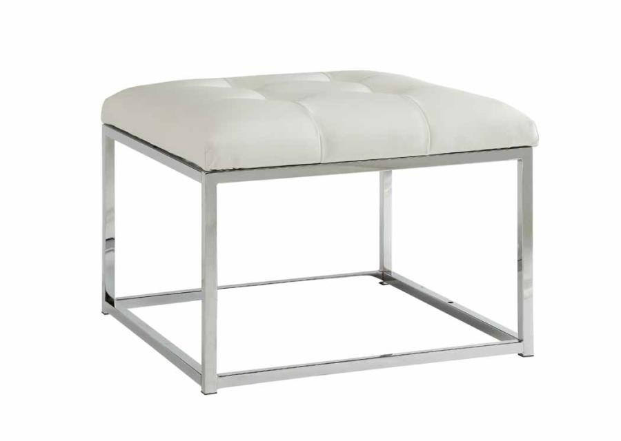 ACCENTS : OTTOMANS - Contemporary White and Chrome Ottoman