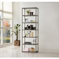 HOME OFFICE : BOOKCASES - Contemporary Black Nickel Six-Tier Bookcase