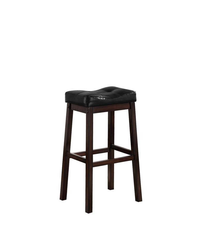 Bar Stools Wood Fixed Height Transitional Black