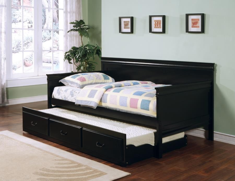 TWIN DAYBED WITH TRUNDLE - Louis Philippe Traditional Black Twin Daybed