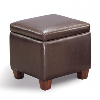 LIVING ROOM: GLASS TOP OCCASIONAL TABLES - Causal Brown Storage Ottoman