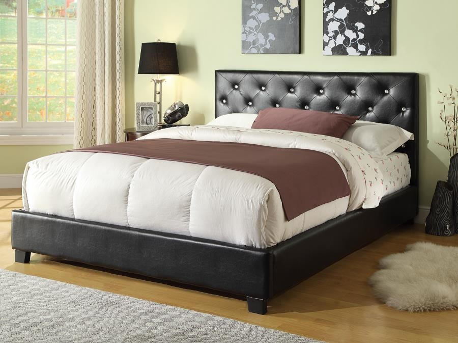 REGINA BED - Regina Transitional Black Full Bed