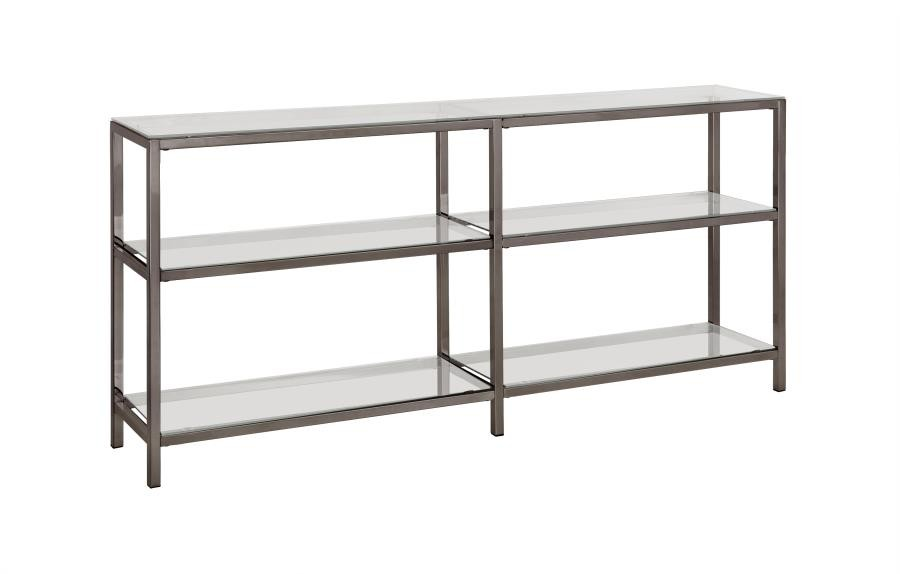 HOME OFFICE : BOOKCASES - Contemporary Black Nickel Two-Tier Double Bookcase