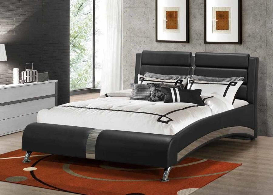 Jeremaine Upholstered bed - Havering Contemporary Black and White  Upholstered Queen Bed