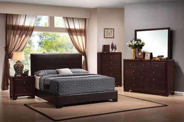 CONNER COLLECTION - Conner Transitional Dark Brown Upholstered California King Bed