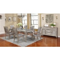 BLING GAME COLLECTION - Bling Game Hollywood Glam Metallic Platinum Dining Table