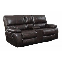 WILLEMSE MOTION COLLECTION - Willemse Chocolate Reclining Loveseat With Storage Console