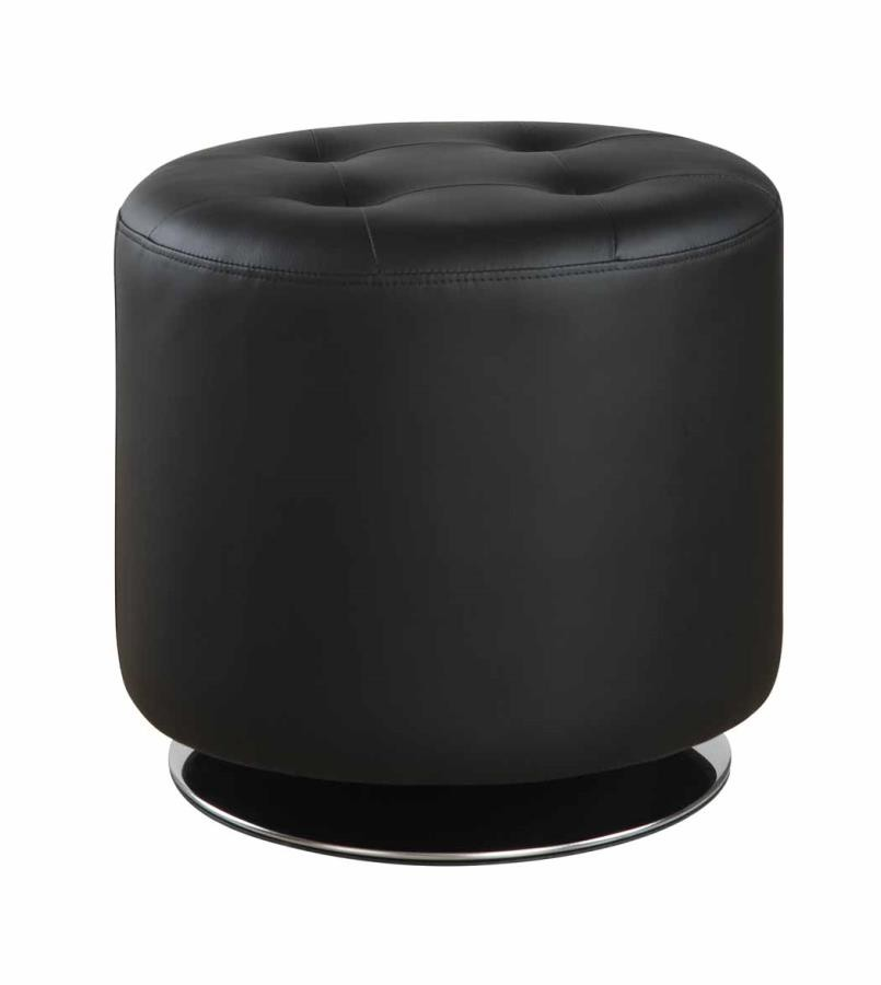 ACCENTS : OTTOMANS - Contemporary Black Round Ottoman