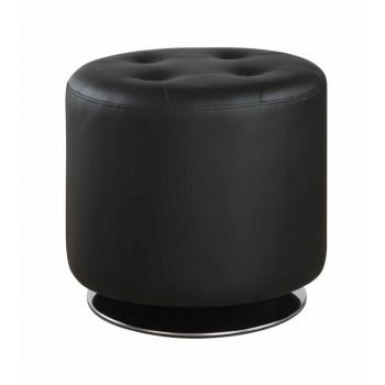ACCENTS : OTTOMANS - Contemporary Black Round Ottoman