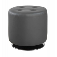 ACCENTS : OTTOMANS - Contemporary Grey Round Ottoman