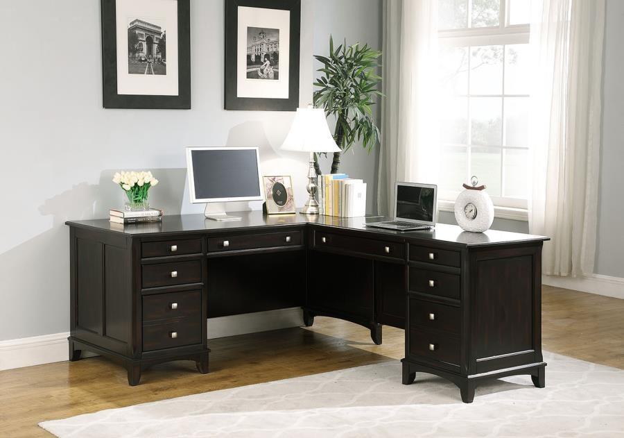GARSON COLLECTION   Garson Cappuccino L Shaped Office Desk