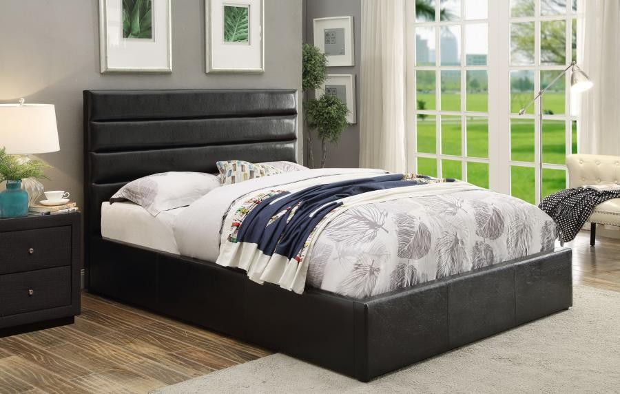 RIVERBEND UPHOLSTERED BED   Riverbend Casual Black California King Storage  Bed