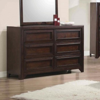 GREENOUGH COLLECTION - Greenough Transitional Cappuccino Six-Drawer Dresser