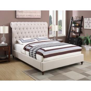 DEVON UPHOLSTERED BED - Devon Transitional Beige Eastern King Bed