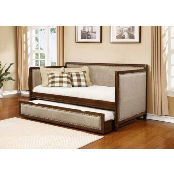 TWIN DAYBED WITH TRUNDLE - Traditional Oatmeal and Rich Amber Daybed