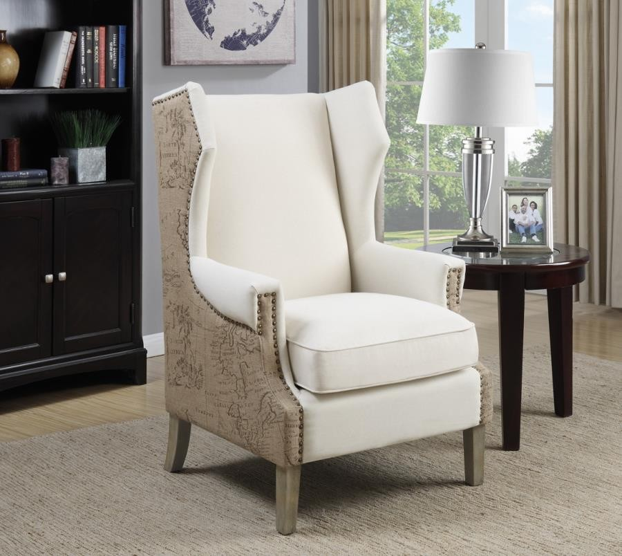 ACCENTS : CHAIRS - Traditional Cream Accent Chair with Vintage Print
