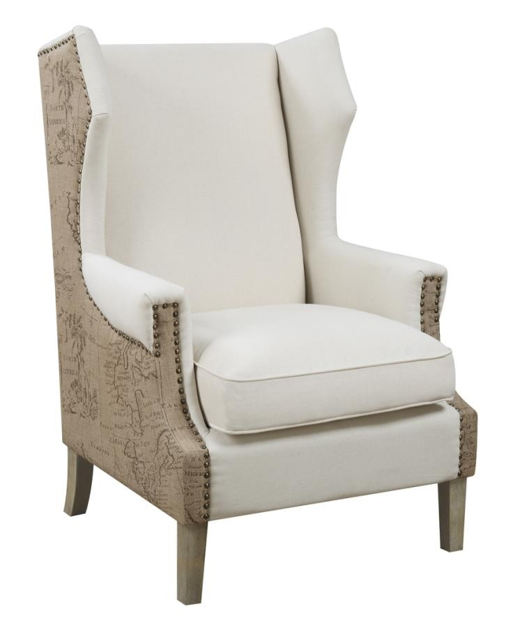 Missoni Style Print Accent Chair: Traditional Cream Accent Chair With