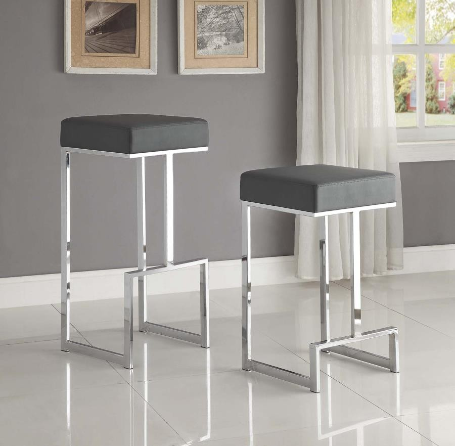 Magnificent Bar Stools Metal Fixed Height Contemporary Chrome And Grey 29 Bar Stool Creativecarmelina Interior Chair Design Creativecarmelinacom