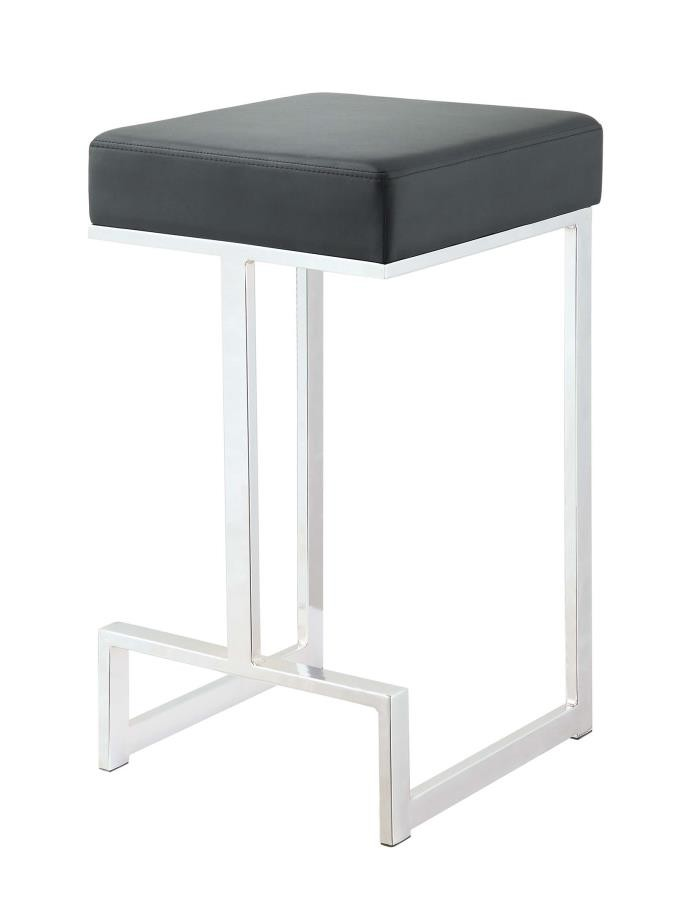 Bar Stools Metal Fixed Height Contemporary Chrome And