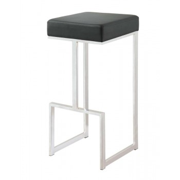 BAR STOOLS: METAL FIXED HEIGHT - Contemporary Chrome and Black 29