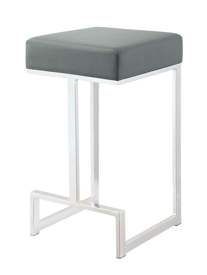 Remarkable Bar Stools Metal Fixed Height Contemporary Chrome And Grey Counter Height Stool Unemploymentrelief Wooden Chair Designs For Living Room Unemploymentrelieforg