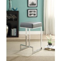 BAR STOOLS: METAL FIXED HEIGHT - Contemporary Chrome and Grey Counter-Height Stool