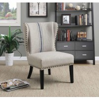 ACCENTS : CHAIRS - Traditional Grey and Blue Accent Chair