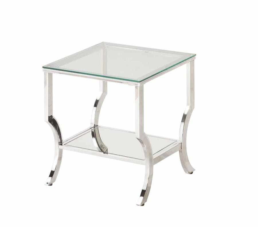 LIVING ROOM: GLASS TOP OCCASIONAL TABLES   END TABLE