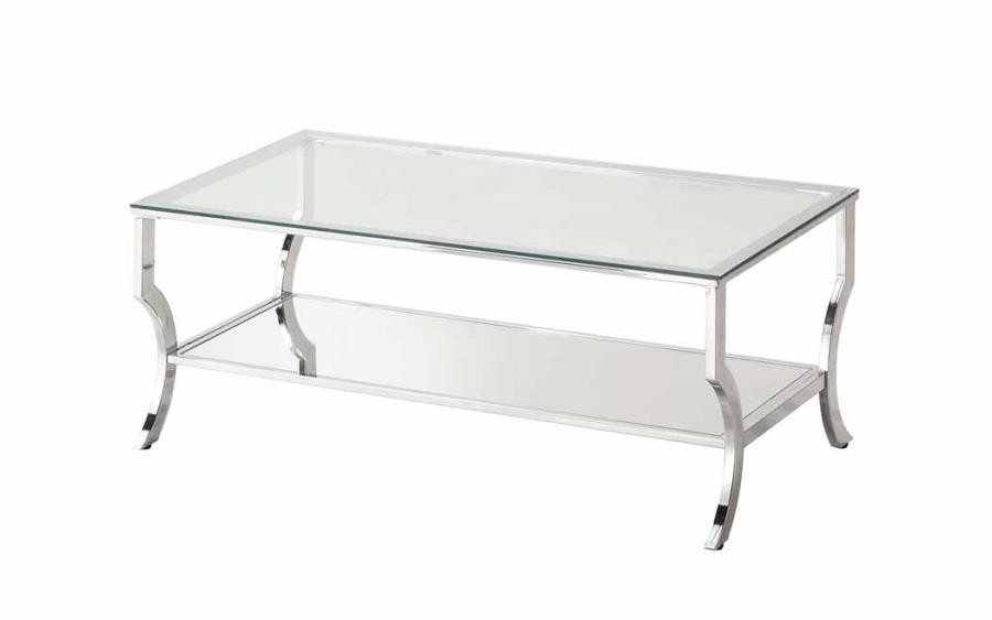 LIVING ROOM: GLASS TOP OCCASIONAL TABLES - Contemporary Chrome ...