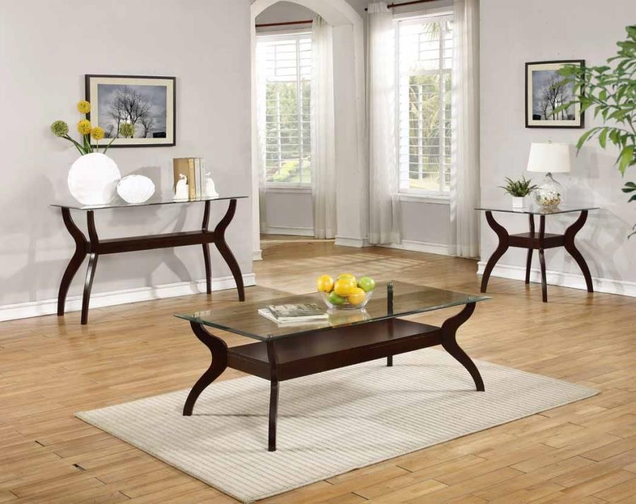 LIVING ROOM: GLASS TOP OCCASIONAL TABLES - Casual Cappuccino Sofa Table