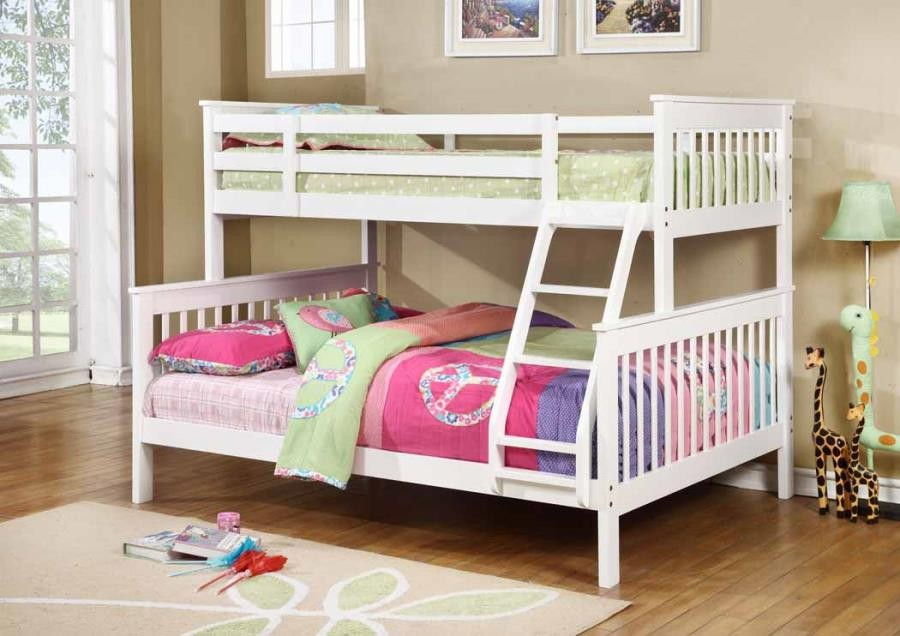 Chapman Collection Chapman Transitional White Twin Over Full Bunk Bed 460260 Bunk Beds Midtown Outlet Home Furnishings