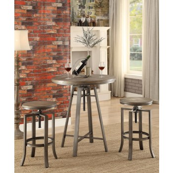 REC ROOM/ BAR TABLES: RUSTIC/INDUSTRIAL - Industrial Adjustable Height Round Bar Table